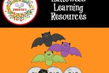 Halloween Learning Resources / Halloween Themed Learning Resouces for PreK, Kindergarten, First, and Second Grades.  #halloween #earlychildhood #primary #worksheets #clipcards =