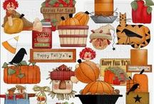 Thanksgiving Fall Graphics Digital Clipart / Thanksgiving Fall Graphics Digital Clipart - Graphics include pumpkin filled wagons, block words with turkeys and pumpkins, scarecrows, cornucopia settings, Halloween stacking boxes, matching fall backgrounds, and more.