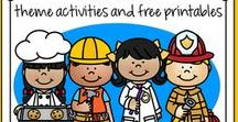 Community Helpers Theme / This is a collection of Community Helpers themed resources for your preschool, pre-K and Kindergarten aged children, to use both at school and at home. Make hands-on, interactive learning games and activities with these creative free, and low-cost printable pages.