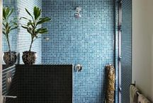 Bathroom / Colourful mosaic tiled bathrooms, custom made vanities, unusual designs