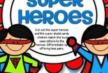 Superheroes / Superheroes theme educational resources for preschool, Pre-K and Kindergarten. Numbers, letters, shapes, colors and more.