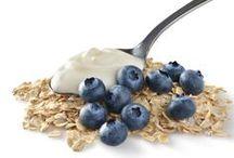 Blueberry & Greek Yogurt Snack Bar / Sweet blueberries and rich Greek yogurt give these 100-calorie gluten-free oatmeal bars their creamy, indulgent flavor and high-powered health benefits.