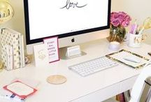 Office Inspiration / Office Inspiration....Kate Spade, white, peach, gold, coral colours