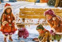 Winterkinderen / Kinderen in de sneeuw taferelen