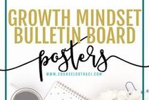 Growth Mindset Bulletin Posters / All things about mindsets! This includes fixed / growth mindset counseling activities, ideas, and resources students. I serve unique counselors who want fresh ideas involving college success by offering them captivating resources that matter. College preparation, printables, worksheets and tips!