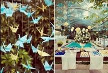 decoração de casamento / Azul com amarelo