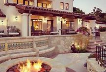 Dream Home / MEDITERRANEAN TUSCAN is my ultimate fave. Modern french farmstyle. I also love the modern clean rustic look and nutrals with a dash of sparkle. A bonfire is a must!