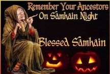 "Samhain ~ Oct 31 - Nov 1 / The Irish (Gaelic) name Samhain is from Old Irish means ""summer's end"" pronounced Sow-in Ireland, Sow-een Wales, Sav-en Scotland. It marked the end of the harvest, the end of the ""lighter half"" of the year and beginning of the ""darker half"". Samhain is the day on which the Celtic New Year and winter begin together, so it is a time for both beginnings and endings. It is a time to study the Dark Mysteries and honor the Dark Mother and the Dark Father, symbolized by the Crone and her aged Consort.  / by Lydia Moonlight"