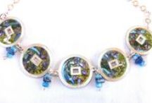 ART ON ENAMEL / Star night from Van gogh Necklace made from Sterling Silver and anamel to represent van gogh