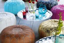 Marocco.  Kelims poefs  glas lamps / Marroko