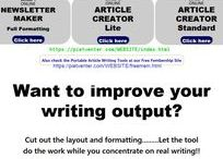 Content Writing Tools / Writing is not all about dotting down text. It is also important to construct the document properly for enhanced reader experience. https://pietventer.com/WEBSITE/cwrtools.html Article Content Writing Tools were developed to Improve writing outputs through proper formatting and layouts of especially heading, body and footer for author and source. They are specialized instruments and obviously not for the interest of most general mainstream internet users.