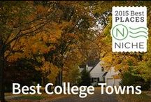 Best College Towns / 2015 Rankings of Best College Towns to Live In from Niche.com Explore more of Niche's Local Rankings at https://local.niche.com/rankings/ / by Niche