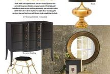 Style Directions - Midnight Stars (Black & Gold) / Dramatic looks featuring black and gold furniture and dazzling deep combinations of contrast and metallics.