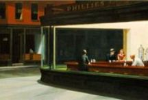 Art - Hopper, Edward / Hopper's work The Nighthawk was the first painting that caught this pinner's attention.  When looking at pictures of it, there seemed to be many mysteries that needled the mind.  Hopper is one of the most famous artists in the US and his works are thoroughly enjoyed. / by Debbie Will