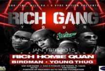 "Rich Gang Tour - January 18, 2015 / Rich Gang's track ""Lifestyle"" by Birdman, Rich Homie Quan, and Young Thug rocketed up the charts. The single went on to reach Number Five on the US Billboard Hot Rap Songs chart and Number 30 on the US Billboard Hot 100 chart.  This past September, the trio released a mixtape entitled Rich Gang Tha Tour Part 1. Rich Gang is set to release their second studio album this winter. This album will feature Birdman, Rich Homie Quan, and Young Thug collaborating with fellow Cash Money Records artists."