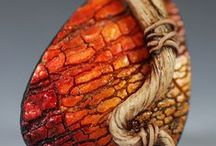 FIMO nápady - imitace dřeva, kosti, kůže, kamene, textilu(faux wood, bone, leder,stone)