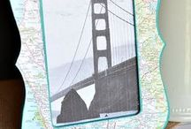 Map Creations / Crafts and projects that use maps as a part -- repurposing atlases, road maps, and tourist maps.