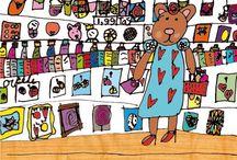 Kaarten van kindertekeningen / Gelegenheidskaarten gemaakt van kindertekeningen (o.a geboorte, trouw en rouwkaarten).