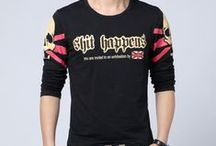 Street Fashion Style T-Shirts For Men / Casual Street Fashion T-Shirts For Men, Long Sleeved, Big Size, Printed, Round Neck