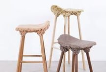 Marjan van Aubel & James Shaw / ___Understanding that there is 50% to 80% of timber wastage during normal manufacture, Marjan van Aubel and James Shaw incorporated waste shavings into design chairs and stools using bio resin. A curious chemical reaction occurs when it is mixed with the shavings, expanding it into foam that is then shaped into the seat. The series of Well Proven Stools are especially designed for Transnatural Label.
