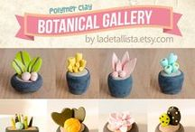 Plant figurines for decoration / Miniature sculptures: potted plants, succulents and cactus. Handmade in polymer clay, colorful and so cute home decor. You can find them in my etsy shop http://www.ladetallista.etsy.com   My last creations inspired by botany. Decor your desktop!