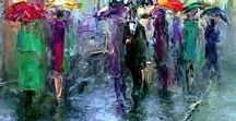 Art reflections, water, rain, wet umbrellas. / I love painted reflections, here are some of my favourites.