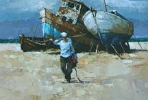 Art, sea, sand, maritime themes. / Paintings with a marine, nautical or seaside theme.