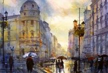 Geoffrey Wynne watercolors Aquarelles,Acuarelas / In any language, these watercolours are lovely!