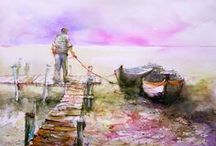 Art expression, Christian Couteau watercolors / I love the use of color in these watercolors.
