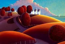 Arty-licious terrain, Paul Corfield landscapes / He has such a unique and colorful style.
