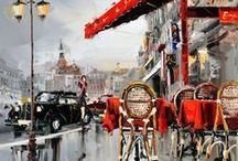 Art colour Kal Gajoum / I love the free use of colour and brush strokes in these paintings.