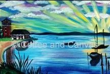 Adult Painting Options / Coffee and Canvas™ offers a wide variety of paintings to choose from for your party. Book now: www.coffeeandcanvastn.com