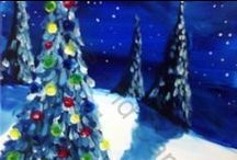 Holiday Painting Options / Celebrate the holidays by painting a Coffee and Canvas™ holiday painting at your next mobile painting party! Book now: www.coffeeandcanvastn.com