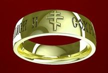 wedding rings we love / Ideas for photographing rings, tips for buying a ring, plus our products! Wedding rings from OrthodoxRings.com are embossed with designs rooted in Orthodox Christian tradition as well as Greek, Russian, and Middle Eastern culture. Available with text in English, Greek, Slavonic, and Arabic.  All rings are available in 14k and 18k green, rose, yellow, and white gold, as well as platinum and silver-platinum.