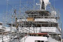 The Art of Shrink Wrap & Marine Scaffolding for Motor Yachts / Techno Craft's #marinescaffolding and #yachtcovering techniques for #motoryachts undergoing #refit in shipyards and marinas throughout Europe and Worldwide. #wevegotitcovered www.technocraftsl.com #shrinkwrap #Mallorca