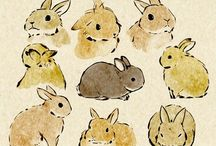 Rabbit paintings and drawings