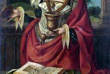 Iconografie Maria Magdalena: noli me tangere / Devotie en boetvaardigheid in de christelijke beeldenkunst. Maria Magdalena werpt door haar bekering haar rijke kledij en juwelen (wereldse ijdelheid) af. Attributen: de kruik met zalf, waar ze de voeten van Jezus mee zalfde toen hij in het huis van Simon op bezoek was, haar lange haar: crucifix, doodskop (vanitas, zweep (geseling/bespotting van Jezus), (doornen)kroon, boekje, in de barok slaat zij haar ogen op naar de engelen in de hemel, evt. naaktheid.