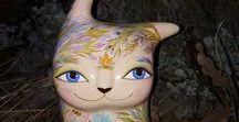 Cats / Original art cat. Ceramic Ocarina. Animal sculpture. Pictures & illustration.  #ceramic #art #handmade #ocarina #animal #sculpture #jivizvuk #figurine #music #gifts #toy #cat #mystic #toy #original #etsy