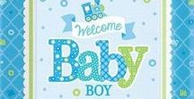 Baby: Welcome Baby Boy Party Supplies / A range of Welcome Baby Boy tableware includes coloured napkins, plates, tablecover, cups, Balloons, disposable cutlery and Platters. Add this Welcome Baby Boy partyware to any coloured party supplies and create the perfect themed party for a Baby Shower, Baby Arrival, Naming Day or Christening