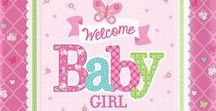 Baby: Welcome Baby Girl Party Supplies / A range of Welcome Baby Girl tableware includes coloured napkins, plates, tablecover, cups, Balloons, disposable cutlery and Platters. Add this Welcome Baby Girl partyware to any coloured party supplies and create the perfect themed party for a Baby Shower, Baby Arrival, Naming Day or Christening