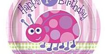 1st Birthday Girl: Lady Bug Party Supplies / A range of 1st Birthday Pink Lady Bug  tableware and decorations which include napkins, plates, tablecover, cups, disposable cutlery, Party Balloons, Platters. Add this 1st Birthday Pink Lady Bug partyware to any coloured party supplies and create the perfect theme.