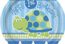 1st Birthday: Mr Turtle Party Supplies / A range of Mr Turtle 1st Birthday tableware and decorations which include napkins, plates, tablecover, cups, disposable cutlery, Balloons, Platters, great for a themed wedding. Add this Turtle 1st Birthday partyware to any coloured party supplies and create the perfect theme.