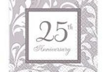 Anniversary: 25th Silver Wedding Anniversary / See our range of 25th Silver Wedding Anniversary party supplies, from cake toppers, table decorations, silver wedding tableware, silver wedding banners & balloons plus favour gift ideas.