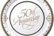 Anniversary: 50th Golden Wedding Anniversary Party Supplies / See our range of 50th Golden Wedding Anniversary party supplies, from cake toppers, table decorations, 50th Golden wedding tableware, 50th Golden wedding banners & balloons plus favour gift ideas.