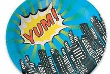 Pop Art Superhero Party Supplies / A range of Pop Art Party tableware and decorations which include napkins, plates, tablecover, cups, disposable cutlery, Party Balloons, Platters, great for a themed party. Add this Pop Art Party partyware to any coloured party supplies and create the perfect theme.