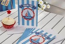 1st Birthday: Ahoy There Party Supplies / A range of Ahoy There tableware and decorations which include napkins, plates, tablecover, cups, disposable cutlery, Party Balloons, Platters, great for a nautical themed party or 1st Birthday. Add this Ahoy There partyware to any coloured party supplies and create the perfect theme