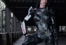 Commander Shepard Cosplay / Links to wigs, material, makeup, eye contacts that will complete my cosplay of Mass Effect's Commander Shepard, as well as pictures of the armour/guns/other cosplays for reference.