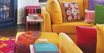 COLOURFUL HOMES / Colourful home interiors that inspire me. Kitchens, Bathrooms, Livingrooms, Bedrooms. All with an injection of colour.  Red, yellow, green, orange, blue.