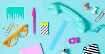 Colourful flat lay photography / A board full of colour themed photography and colourful flatlays.