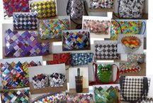 Fletterier/Candy Wrapper purses/clutches/bags/baskets/pencil cases / www.bricksite.com/pusterummet64 Punge, clutches, tasker, kurve og penalhuse flettet i papir eller genbrugsmaterialer.  Hand made by me: www.bricksite.com/pusterummet64:  Purses, clutches, bags, baskets and pencil cases wowen of paper or recycled materials.